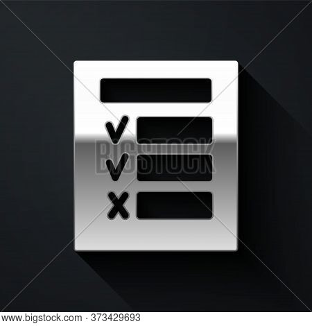 Silver Car Inspection Icon Isolated On Black Background. Car Service. Long Shadow Style. Vector Illu
