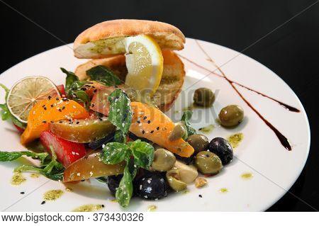 Salad With Tomatoes, Basil And Mozzarella. Salad With Tomatoes And Mozzarella.
