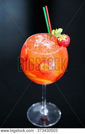 Strawberry Mojito Cocktail. Close Up View Of Summer Fresh Cocktail With Mint, Strawberrypieces Isola