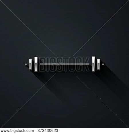 Silver Barbell Icon Isolated On Black Background. Muscle Lifting Icon, Fitness Barbell, Gym, Sports