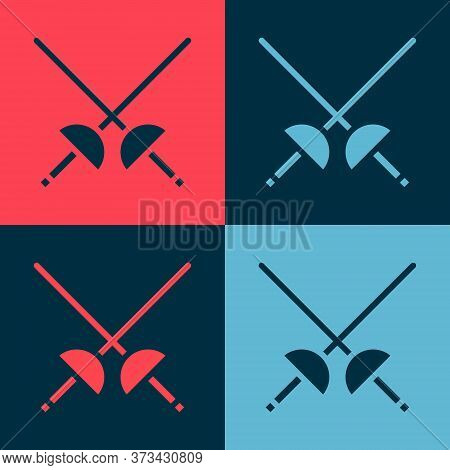 Pop Art Fencing Icon Isolated On Color Background. Sport Equipment. Vector Illustration