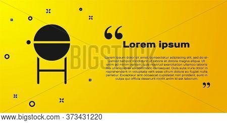 Black Barbecue Grill Icon Isolated On Yellow Background. Bbq Grill Party. Vector Illustration