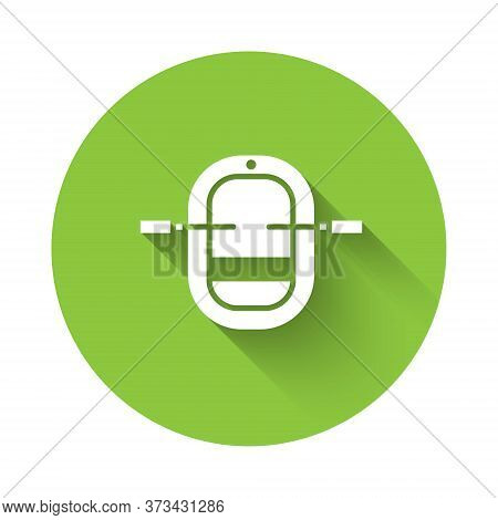 White Rafting Boat Icon Isolated With Long Shadow. Inflatable Boat With Paddles. Water Sports, Extre