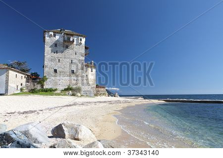 Tower of Ouranoupolis at Chalkidiki in Greece