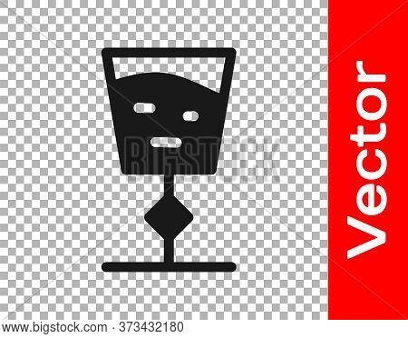 Black Wine Glass Icon Isolated On Transparent Background. Wineglass Sign. Vector Illustration