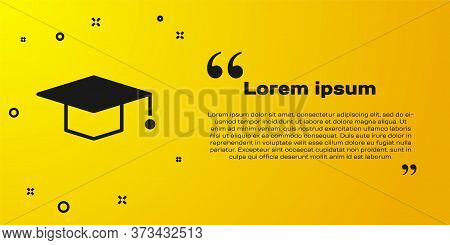 Black Graduation Cap Icon Isolated On Yellow Background. Graduation Hat With Tassel Icon. Vector Ill