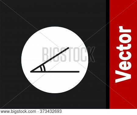 White Acute Angle Of 45 Degrees Icon Isolated On Black Background. Vector Illustration
