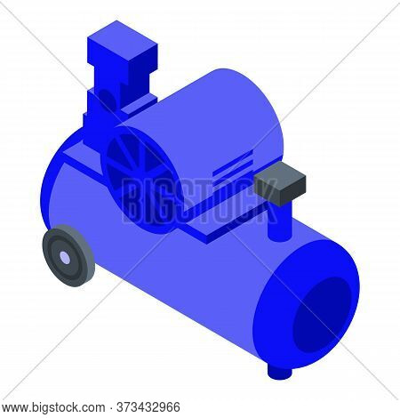 Cylinder Air Compressor Icon. Isometric Of Cylinder Air Compressor Vector Icon For Web Design Isolat