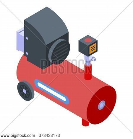 Motor Air Compressor Icon. Isometric Of Motor Air Compressor Vector Icon For Web Design Isolated On