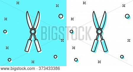 Black Line Gardening Handmade Scissors For Trimming Icon Isolated On Green And White Background. Pru