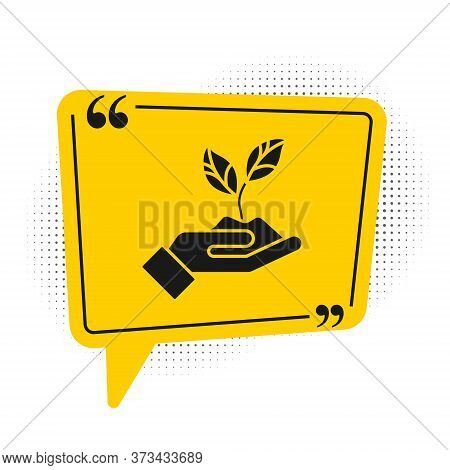 Black Plant In Hand Of Environmental Protection Icon Isolated On White Background. Seed And Seedling