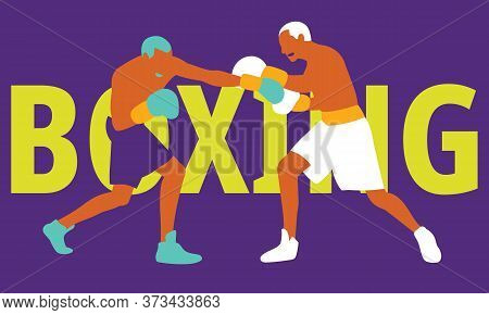 Boxing Player In Action. Strength, Attack And Motion Concept. Vector Illustration.