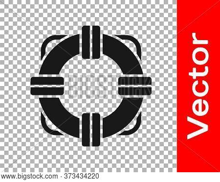 Black Lifebuoy Icon Isolated On Transparent Background. Lifebelt Symbol. Vector Illustration