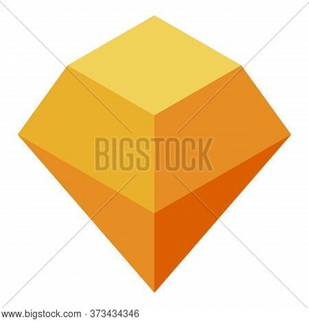 Orange Gem Rock Icon. Isometric Of Orange Gem Rock Vector Icon For Web Design Isolated On White Back