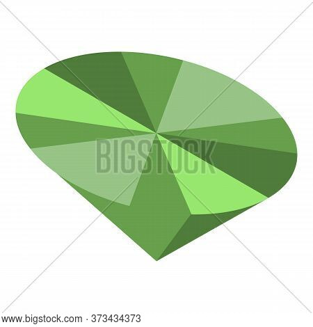 Green Gemstone Icon. Isometric Of Green Gemstone Vector Icon For Web Design Isolated On White Backgr