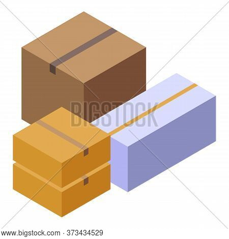 Parcel Boxes Icon. Isometric Of Parcel Boxes Vector Icon For Web Design Isolated On White Background