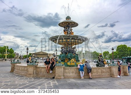 Fountain Of The Seas (fontaine Des Mers) On Place De La Concorde Square In Paris, France - May 2019