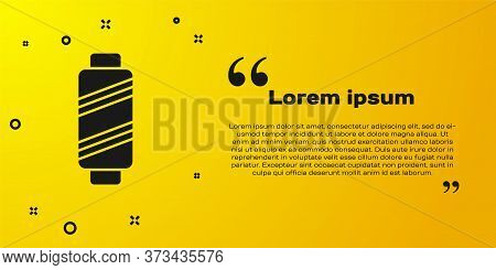 Black Sewing Thread On Spool Icon Isolated On Yellow Background. Yarn Spool. Thread Bobbin. Vector I
