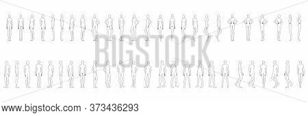 Fashion Template Of 50 Men And Women. 9 Head Size For Technical Drawing. Gentlemen And Lady Figure F