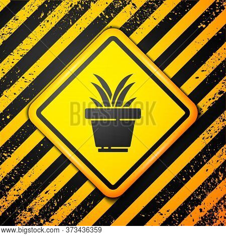 Black Flower In Pot Icon Isolated On Yellow Background. Plant Growing In A Pot. Potted Plant Sign. W