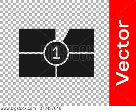 Black Old Film Movie Countdown Frame Icon Isolated On Transparent Background. Vintage Retro Cinema T