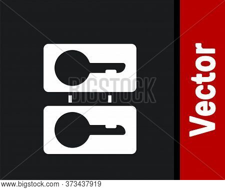 White Metal Mold Plates For Casting Keys Icon Isolated On Black Background. Set For Mass Production