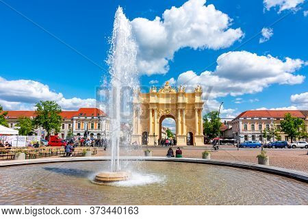 Potsdam, Germany - May 2019: Brandenburg Gate (brandenburger Tor) In Center Of Potsdam