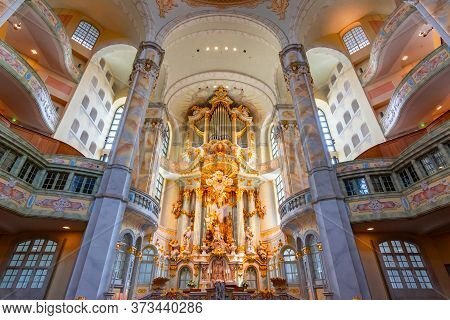 Dresden, Germany - May 2019: Interiors Of Frauenkirche (church Of Our Lady)