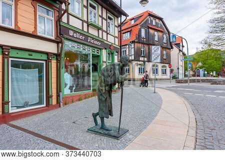Wernigerode, Germany - May 2019: Streets Of Old Town With Half-timbered Houses