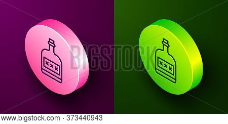 Isometric Line Alcohol Drink Rum Bottle Icon Isolated On Purple And Green Background. Circle Button.