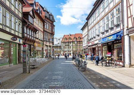 Streets Of Old Town With Half-timbered Houses, Wernigerode, Germany - May 2019
