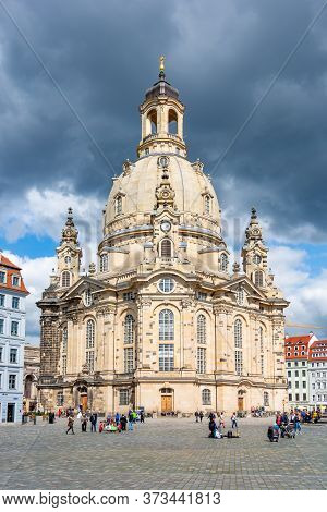 Frauenkirche (church Of Our Lady) On New Market Square (neumarkt), Dresden, Germany - June 2019