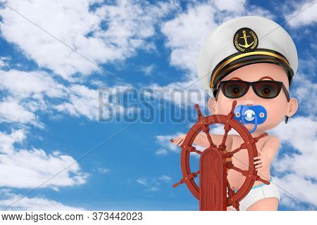 Little Sailor Or Captain Concept. Cartoon Cute Baby Boy In Naval Officer, Admiral, Navy Ship Captain