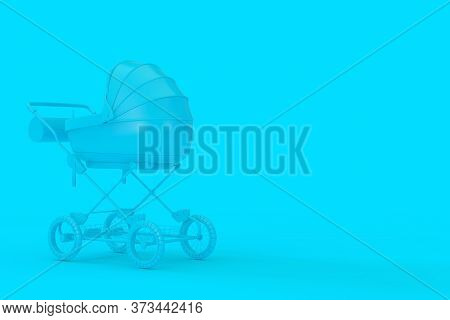 Modern Blue Baby Carriage, Stroller, Pram Mock Up In Duotone Style On A Blue Background. 3d Renderin