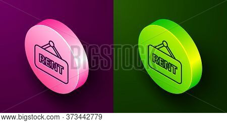 Isometric Line Hanging Sign With Text Rent Icon Isolated On Purple And Green Background. Signboard W