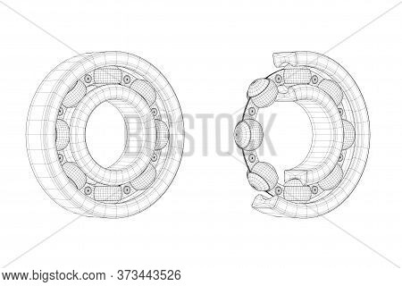 Set Of Drawing Lines Ball Bearings With One Cut Outed Where Visible The Inner Parts On A White Backg