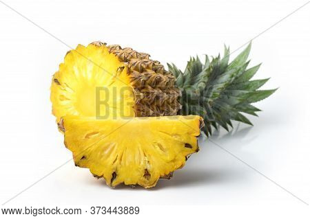 Pineapple Fresh Isolated On White Background And Clipping Path. The Name Of Science : Ananas Comosus