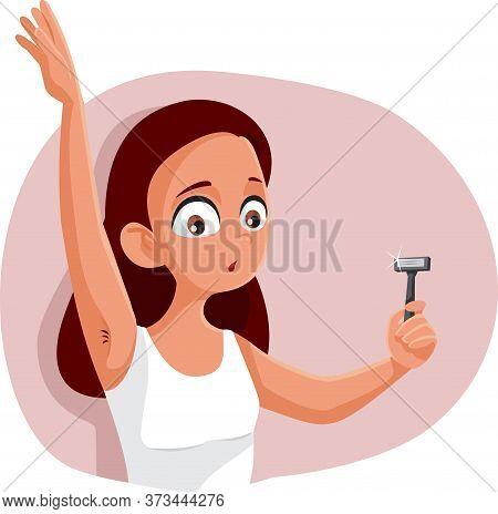 Teen Girl Shaving Armpit Vector Cartoon Illustration