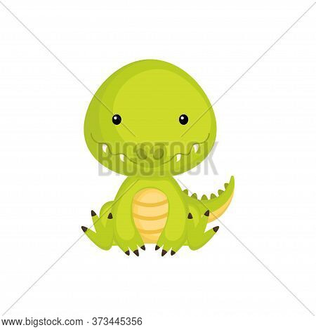 Cute Baby Crocodile Sitting Isolated On White Background. Adorable Animal Character For Design Of Al