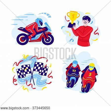 Set Of Motorcycle Racing Illustrations In A Flat Design. Motorcycle Racers, Start And Finish Flags.