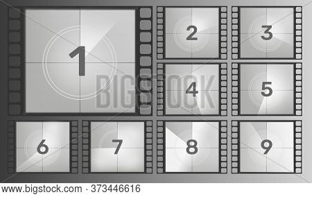 Vintage Retro Cinema. Countdown Frame.cinema Film Countdown Old Movie Films. Vector Illustration.