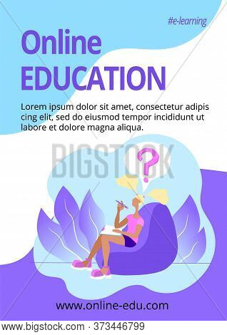 Vertical Poster Education Online Template. E-learning Classes Advertising. Student Is Doing Homework