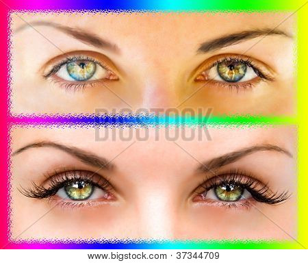 Natural and false eyelashes before and after poster