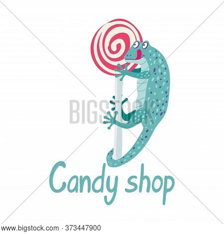 A Cute Turquoise Gecko Is Hanging On A Lollipop. It\'s Happy And Wants To Eat Sweets. Candy Shop Han