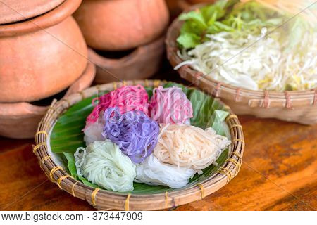 Thai Food, Rice Noodle Eaten With Curry And Fresh Vegetable. Or Fermented Rice Flour Noodles/ Kanom