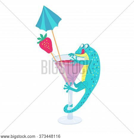 A Cute Turquoise Gecko Is Climbing On A Cocktail Glass For A Strawberry. It\'s Happy And Wants To Ea