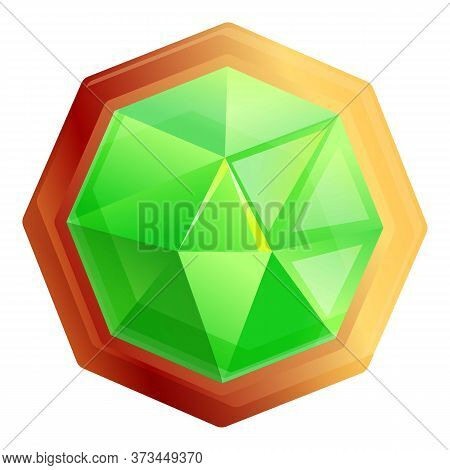 Green Jeweler Icon. Cartoon Of Green Jeweler Vector Icon For Web Design Isolated On White Background
