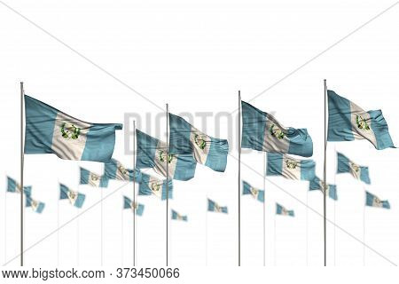Nice Any Occasion Flag 3d Illustration  - Guatemala Isolated Flags Placed In Row With Selective Focu