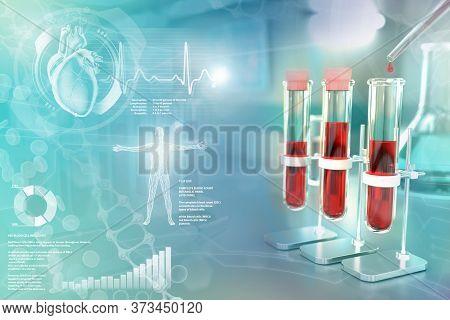 Medical 3d Illustration, Test-tubes Vials In College Clinic - Blood Gene Test For Amount Of Platelet