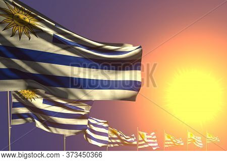 Wonderful Many Uruguay Flags Placed Diagonal On Sunset With Place For Your Text - Any Occasion Flag